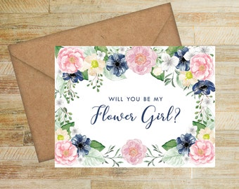 Will You Be My Flower Girl Card | Pink and Navy Floral | Flower Girl Proposal Card | Flower Girl Box Card | PRINTED