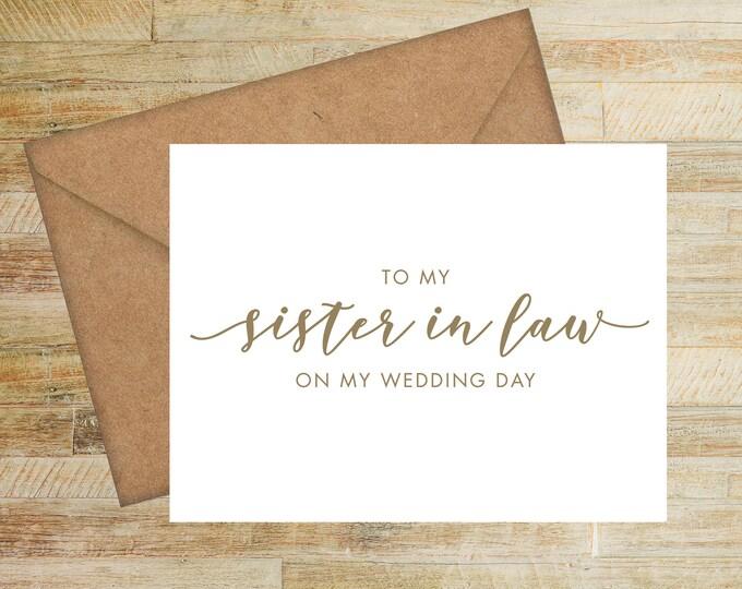 Sister In Law Wedding Card | On My Wedding Day Card For Sister of the Bride | Sister of the Groom | PRINTED