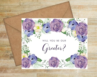 Wedding Greeter Proposal Card | Purple and Navy Floral | Will You Be Our Greeter Card | PRINTED