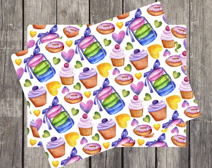 Watercolor Sweet Treats Note Card | Set of 5 | Unique Stationery Gift | Cupcake Design | Fun Donuts Note Cards | Macaroons & Cakes | PRINTED