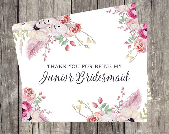 Thank You Card for Junior Bridesmaid | Floral and Feathers | Bridal Party Wedding Thank You Card | PRINTED