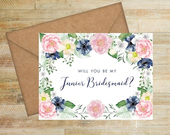 Will You Be My Junior Bridesmaid Card | Pink and Navy Floral | Bridal Party Box Card | Junior Bridesmaid Porposal Card | PRINTED