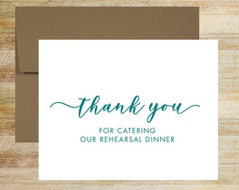 Rehearsal Dinner Caterer Thank You Card | Card For Wedding Vendor | Grooms Dinner Catering Thank You | PRINTED