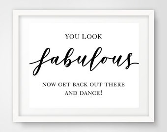 You Look Fabulous Wedding Reception Sign | 8 x 10 | Sign for Bridal Party Bathroom Basket | INSTANT DOWNLOAD