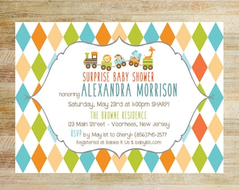 Baby Animals Train Baby Shower Invitations | Toy Train Baby Shower Invites | Baby Boy Shower | Colorful Animals Shower Invites | PRINTED