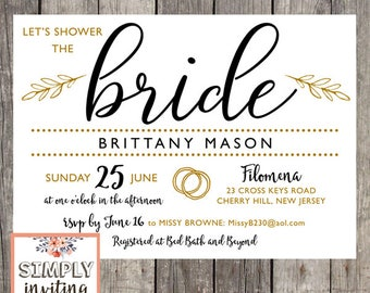 Let's Shower the Bride | Set of 10 | Bridal Shower Invitations | PRINTED
