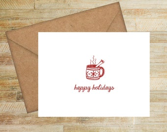 Hot Cocoa Holiday Cards | Set of 10 | Personalized Greeting Cards | Happy Holidays | PRINTED