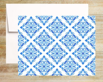 Venetian Blue Tile Note Cards | Set of 4 | Unique Stationery Gifts | Watercolor Tile Pattern 004 | PRINTED