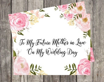 Future Mother In Law Wedding Day Card   Wedding Card for Mom   Mother of the Bride Wedding Card   Card for Step Mom   PRINTED