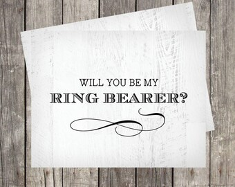 Will You Be My Ring Bearer Card | Rustic Wedding Bridal Party Card | Groomsman Proposal Card | PRINTED