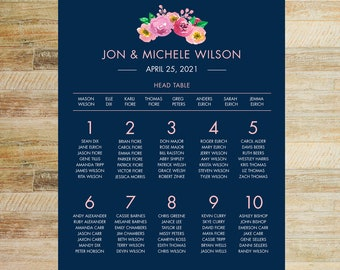 Spring Floral + Navy Wedding Guest Seating Chart | 16 x 20 or 24 x 36 Digital File | PRINTABLE