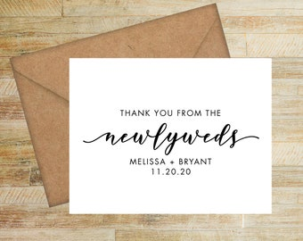 Thank You from the Newlyweds | Custom Thank You Cards | Set of 10 | Personalized Wedding Stationery | Modern Calligraphy | PRINTED