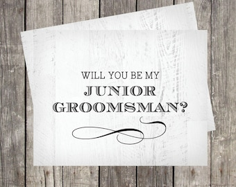 junior groomsman proposal | will you be my junior groomsman card | rustic | bridal party card | personalized | best man | ring bearer