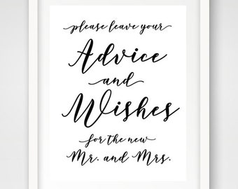 Wedding Wishes Sign | 8 x 10 | Printable Wedding Reception Sign | INSTANT DOWNLOAD