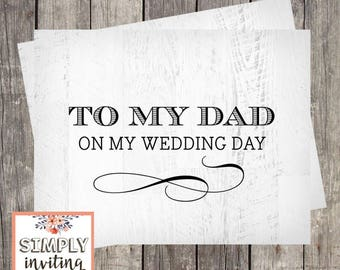 Wedding Day Card for Dad   Card for Father of the Bride   Father of the Groom Card   PRINTED