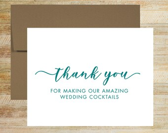 Wedding Reception Bartender Thank You Card | Card For Wedding Vendor | PRINTED