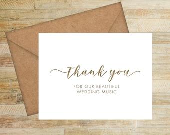 Wedding Musician Thank You Card | Card For Wedding Vendor | PRINTED