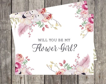 Will You Be My Flower Girl Card | Floral and Feathers | Flower Girl Proposal | Flower Girl Request Card | PRINTED
