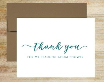 Bridal Shower Thank You Cards | Set of 5 | Shower Card for Vendor | Bridal Stationery | PRINTED