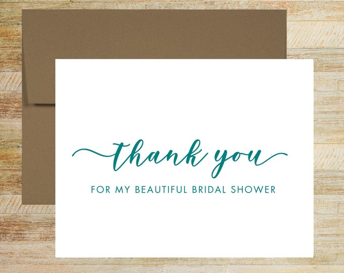 Bridal Shower Thank You Cards | Set of 5 | Shower Card for Vendor | Bridal Stationery | PRINTED