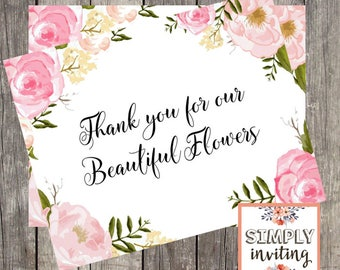Wedding Florist Thank You Card | Pink Floral Wedding Day Card for Florist | PRINTED