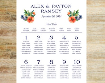 Watercolor Floral Wedding Guest Seating Chart | 16 x 20 or 24 x 36 Digital File | PRINTABLE