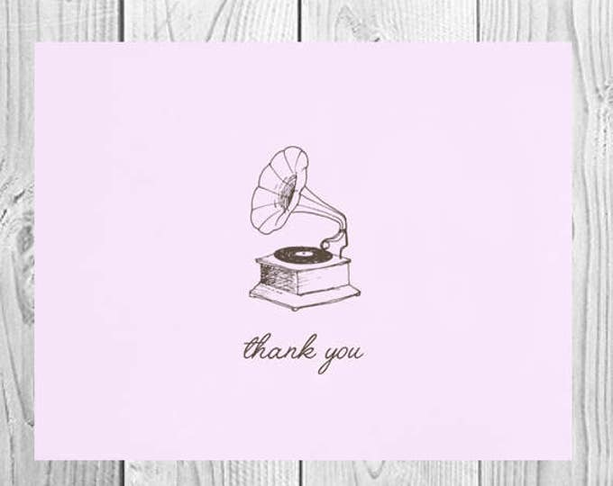 Vintage Record Player Thank You Cards | Set of 5 | Gift for Music Lover | Unique Thank You Cards | PRINTED