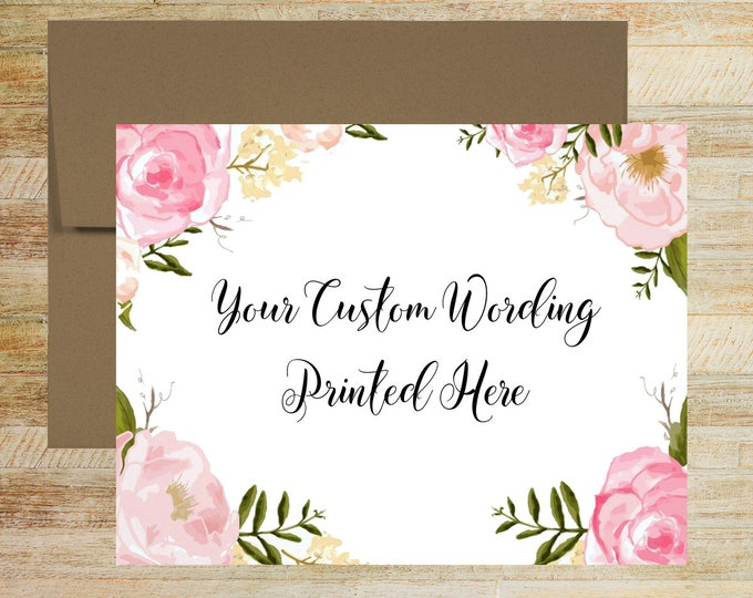 Pink Floral Watercolor Custom Copy Card | Personalized Greeting Card | Blank Inside | PRINTED A2 Size