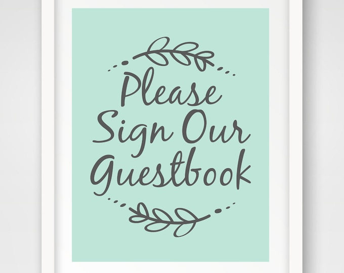 Guestbook Wedding Sign | 8 x 10 and 5 x 7 Sizes | Mint Green and Slate Gray | Shower Printables | Non-Editable PDF Files | INSTANT DOWNLOAD