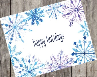 Watercolor Snowflakes Holiday Cards | Set of 10 | Happy Holidays | Christmas Greeting Cards | Holiday Gift Cards | PRINTED