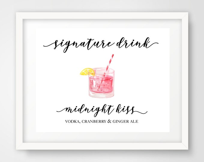 Signature Cocktail Wedding Reception Sign | Midnight Kiss | 8 x 10 | Party Printables | Signature Drink Sign | INSTANT DOWNLOAD