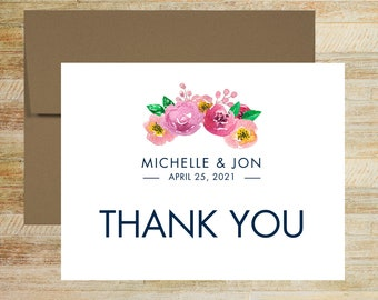 Spring Floral Thank You Cards | Custom Wedding Note Cards | Set of 10 | Personalized Stationery | Watercolor Flowers | PRINTED