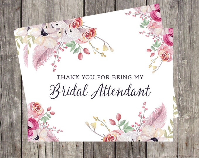 Thank You Card for Bridal Attendant | Floral and Feathers | Bridal Party Wedding Thank You Card | PRINTED