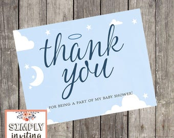 Heaven Sent Baby Shower Thank You Cards | Set of 10 | Baby Boy Shower Stationery | Halo Thank You Cards | Navy Baby Note Cards | PRINTED