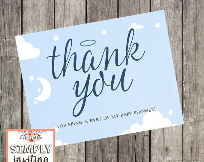 Heaven Sent Baby Shower Thank You Cards   Set of 10   Baby Boy Shower Stationery   Halo Thank You Cards   Navy Baby Note Cards   PRINTED