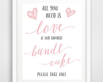 Wedding Favor Cake Sign | 8 x 10 | Our Favorite Bundt Cake Sign | INSTANT DOWNLOAD