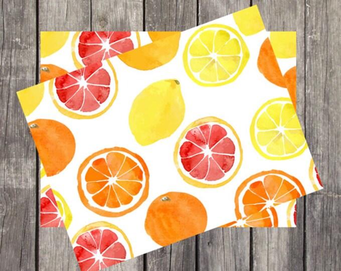 Watercolor Citrus Note Card Set   Set of 5   Unique Stationery Gifts   Grapefruit Design   Fun Fruit Note Cards   Oranges & Lemons   PRINTED
