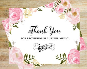 Wedding Singer Card | Thank You DJ | Wedding Band Thank You Card | Card for Wedding Choir | Thank You For The Beautiful Music Card | PRINTED