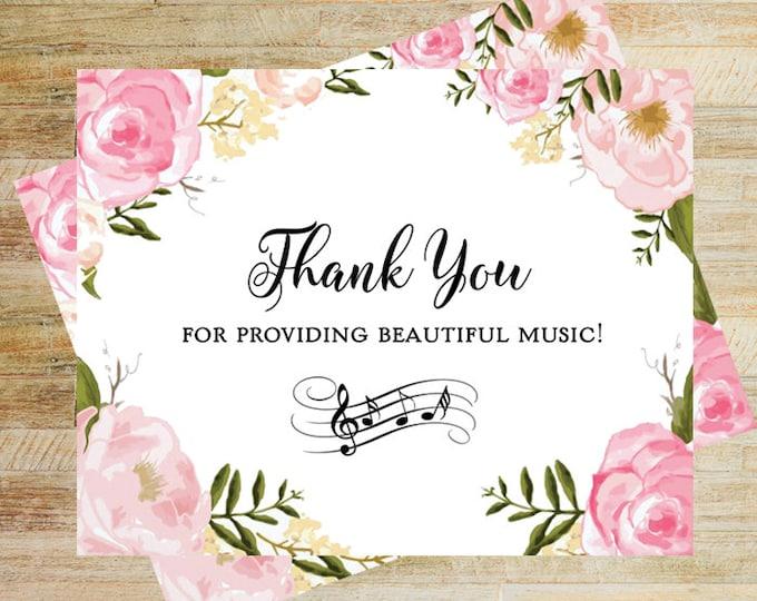Thank You Card for Wedding Musician | Thank You Card for DJ | Wedding Band Thank You Card | Card for Wedding Vendors | PRINTED