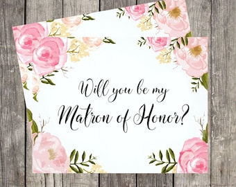 Will You Be My Matron of Honor | Matron of Honor Proposal | Card for Matron of Honor | PRINTED