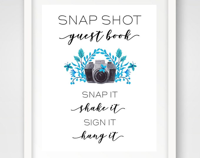Snap Shot Guest Book Photo Sign | Party Photo Guest Book | 8 x 10 Wedding Photo Sign | INSTANT DOWNLOAD
