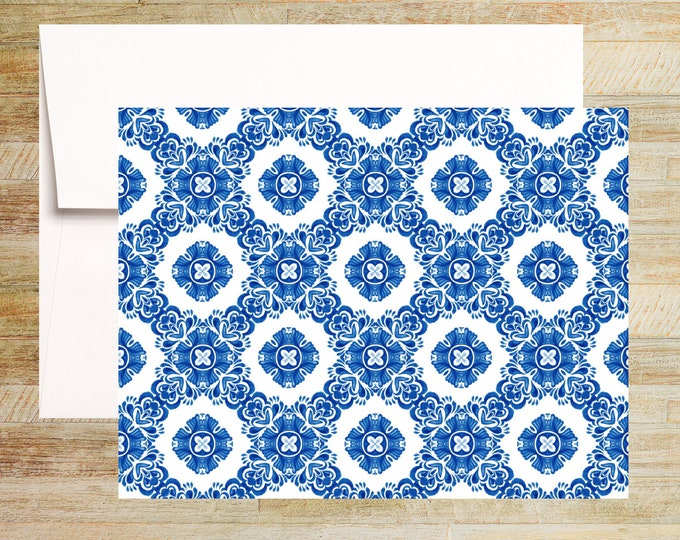 Venetian Blue Tile Note Cards   Set of 4   Unique Stationery Gifts   Watercolor Tile Pattern 003   PRINTED