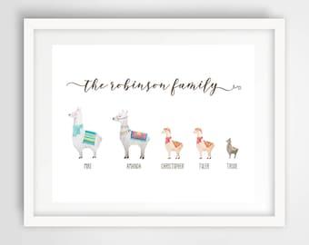 Llama Family Wall Print | 8 x 10 Personalized Family Art | Llama Family Home Decor | Housewarming Gift | Cute Llamas Art | PRINTED