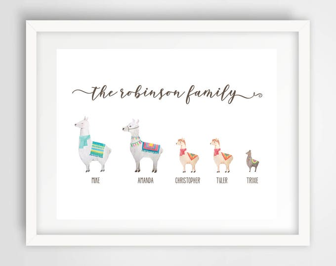 Llama Family Wall Print   8 x 10 Personalized Family Art   Llama Family Home Decor   Housewarming Gift   Cute Llamas Art   PRINTED