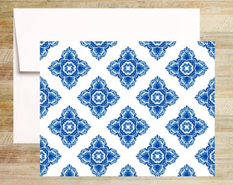 Venetian Blue Tile Note Cards | Set of 4 | Unique Stationery Gifts | Watercolor Tile Pattern 001 | PRINTED