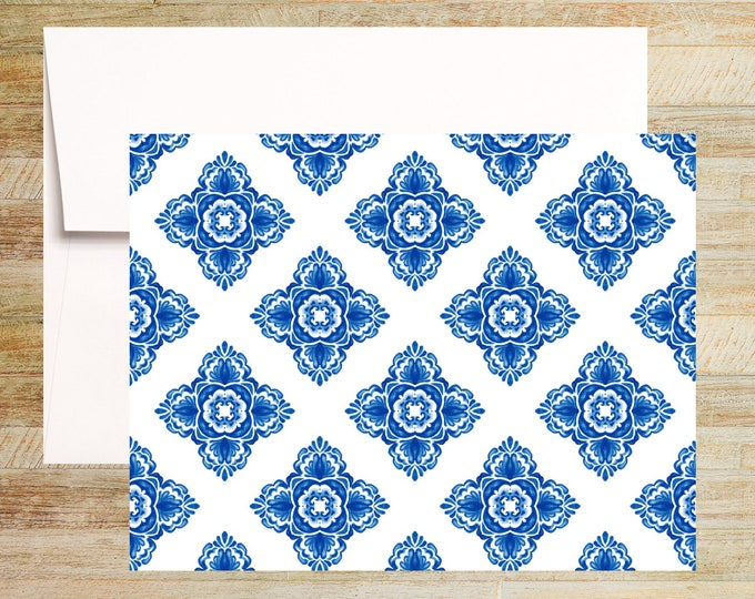 Venetian Blue Tile Note Cards   Set of 4   Unique Stationery Gifts   Watercolor Tile Pattern 001   PRINTED