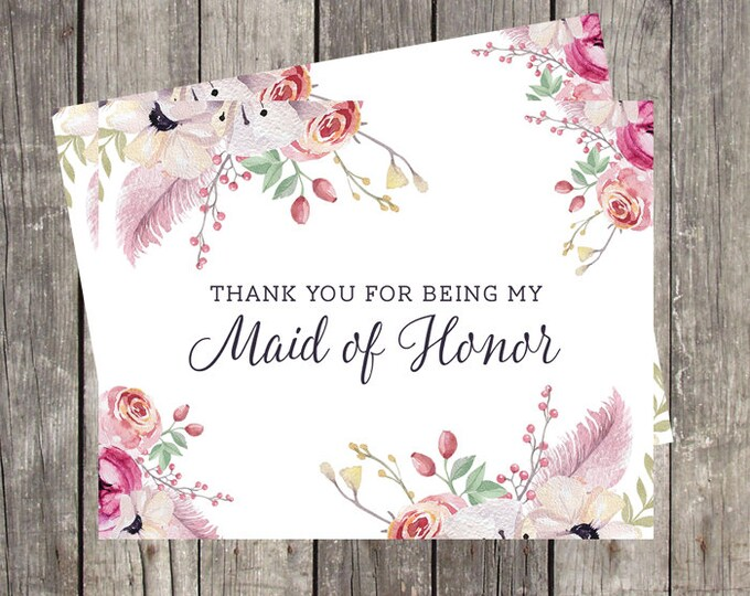 Thank You Card for Maid of Honor | Floral and Feathers | Bridal Party Wedding Thank You Card | PRINTED