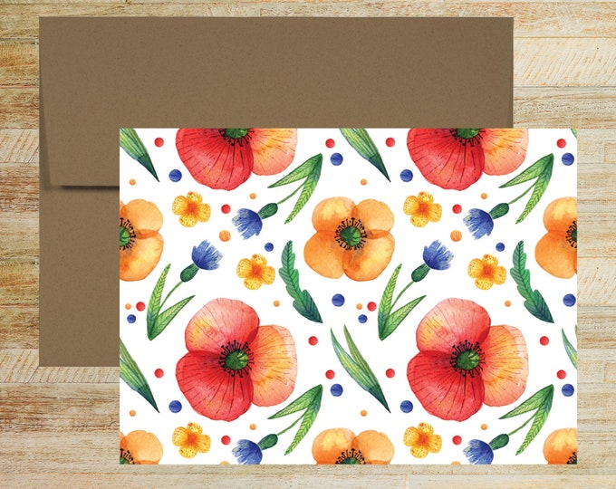 Floral Watercolor Note Cards   Set of 5   Unique Stationery Gifts    Yellow and Red Poppies Pattern Note Cards   PRINTED