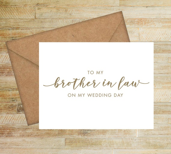 Wedding Card Brother of the Groom  - FPS0062 To My Brother in Law On My Wedding Day Card Brother Card Brother of the Bride