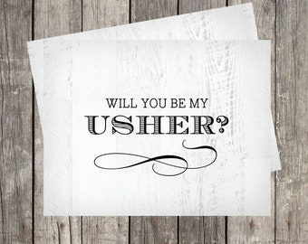 Will You Be My Usher Card | Card for Wedding Usher | Rustic Wood Background | Wedding Usher Proprosal Card | PRINTED